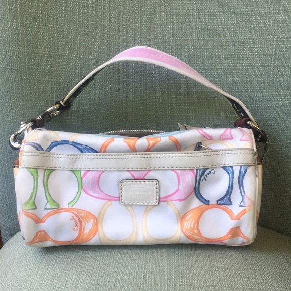 Coach Handbags - Coach Rainbow 🌈 scribble barrel bag